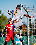 26 October 2019: University of Vermont Catamount Defender Arnar Steinn Hansson, a Senior from Garðabær, Iceland, in second half action against the University of Massachusetts Lowell River Hawks at Virtue Field in Burlington, Vermont. The Catamounts rallied to defeat the River Hawks 2-1, propelling the Cats to the America East Division 1 conference playoffs. Mandatory Credit: Ed Wolfstein Photo *** RAW (NEF) Image File Available ***