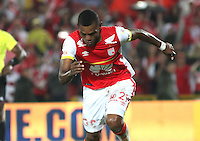 BOGOTA - COLOMBIA - 4-04-2015: Miguel Borja  del Independiente Santa Fe  celebra su gol contra el Deportivo Pasto , durante partido  por la fecha 13 entre Independiente Santa Fe  y Deportivo Pasto de la Liga Aguila I-2015, en el estadio Nemesio Camacho El Campin  de la ciudad de Bogota. / Miguel Borja   player of Indepndiente Santa Fe his goal against Deportivo Pasto, during an  match of the 13 date between La Indepndiente Santa Fe  and Deportivo Pasto   for the Liga Aguila I -2015 at the Nemesio Camacho El Campin  Stadium in Bogota city, Photo: VizzorImage / Felipe Caicedo / Staff.