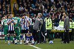 Sheffield Wednesday 2 Peterborough 1, 20/01/2010. Hillsborough, Championship. New manager Alan Irvine issuing instructions to his players during a break in play as Sheffield Wednesday take on Peterborough United in a Coca-Cola Championship match at Hillsborough Stadium, Sheffield. The home side won by 2 goals to 1 giving Alan Irvine his third straight win since taking over as Wednesday's manager. Photo by Colin McPherson.