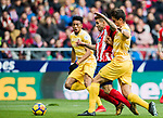 Angel Correa (C) of Atletico de Madrid fights for the ball with Bernardo Jose Espinosa Zuniga (R) of Girona FC during the La Liga 2017-18 match between Atletico de Madrid and Girona FC at Wanda Metropolitano on 20 January 2018 in Madrid, Spain. Photo by Diego Gonzalez / Power Sport Images