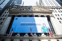 NEW YORK, NEW YORK - JULY 7: A view of the New York Stock Exchange today as hundreds of police, firefighters, hospitals and other first aid workers participate in a parade of ticker tapes to honor workers who helped in New York during the Covid-19 pandemic on July 7, 2021 in New York City. Healthcare workers, first responders and essential workers are honored at the Canyon of Heroes in Manhattan for their service during the COVID-19 pandemic. (Photo by Pablo Monsalve / VIEWpress via Getty Images)