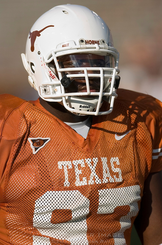 30 September 2006: Texas defensive tackle Frank Okam warms up prior to the Longhorns 56-3 victory over the Sam Houston State Bearkats at Darrell K Royal Memorial Stadium in Austin, TX.