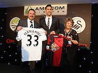 Pictured: federico Fernandez with sponsors Wednesday 20 May 2015<br /> Re: Swansea City FC Awards Dinner at the Liberty Stadium, south Wales, UK