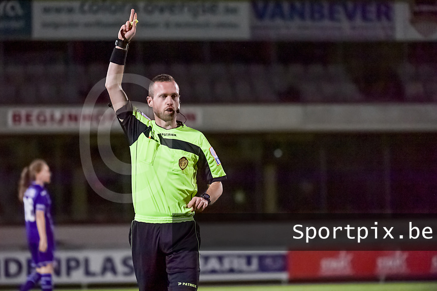 referee Anthony Letellier pictured during a female soccer game between RSC Anderlecht Dames and AA Gent Ladies on the seventh matchday of the 2020 - 2021 season of Belgian Womens Super League , friday 13 th of November 2020  in Overijse , Belgium . PHOTO SPORTPIX.BE | SPP | STIJN AUDOOREN