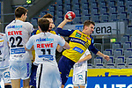 Andy Schmid (Rhein Neckar Löwen Nr.2)  setzt sich im Gedränge im Angriff gegen Marko Mamic (DHfK Leipzig Nr.22) und Lukas Binder (DHfK Leipzig Nr.11) durch und kommt zum Schuss - beim Bundesligaspiel: Rhein Neckar Loewen gegen SC DHfK Handball Leipzig am 15.10.2020 in der SAP-Arena in Mannheim<br /> <br /> Foto © PIX-Sportfotos *** Foto ist honorarpflichtig! *** Auf Anfrage in hoeherer Qualitaet/Aufloesung. Belegexemplar erbeten. Veroeffentlichung ausschliesslich fuer journalistisch-publizistische Zwecke. For editorial use only.