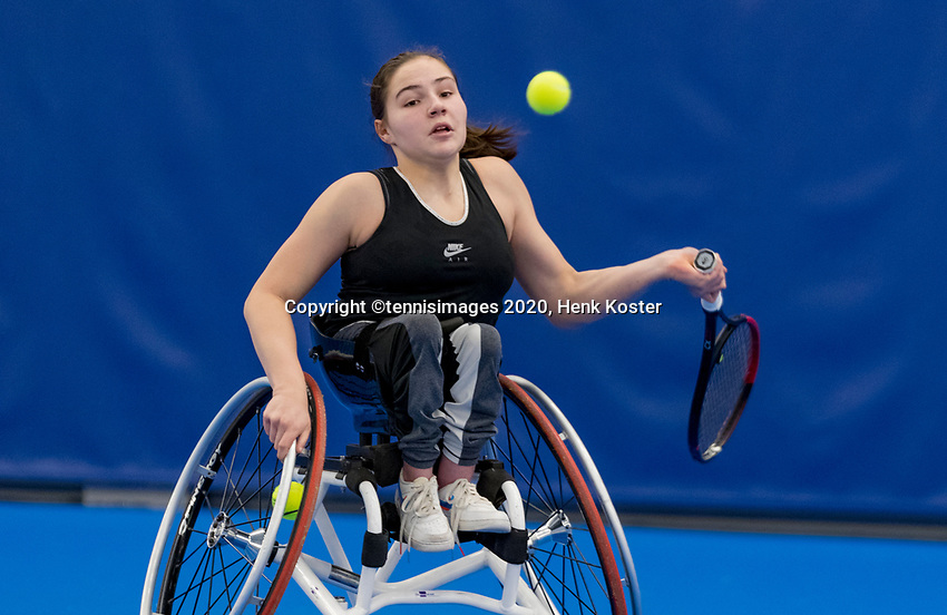 Amstelveen, Netherlands, 12  December, 2020, National Tennis Center, NTC, NKR, National  Junior Indoor Wheelchair Tennis Championships, Women's single:   Lizzy de Greef (NED)<br /> Photo: Henk Koster/tennisimages.com