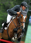 Spain's jockey Antonio Marinas Soto with the horse Cash and Go during 102 International Show Jumping Horse Riding, Gran Prix of Madrid-Volvo Throphy.May, 19, 2012. (ALTERPHOTOS/Acero)