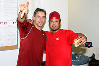September 7 2008:  Colt Sedbrook and Edwin Gomez of the Batavia Muckdogs, Class-A affiliate of the St. Louis Cardinals, celebrate winning the Pinckney Division after a game at Dwyer Stadium in Batavia, NY.  Photo by:  Mike Janes/Four Seam Images