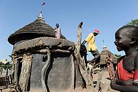 SOUTH SUDAN, village near Rumbek, clay hut of Dinka tribe