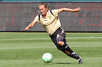 Tiffancy Milbrett #15 of FC Gold Pride attacks the defense the Los Angeles Sol during their match at Home Depot Center on April 19, 2009 in Carson, California.
