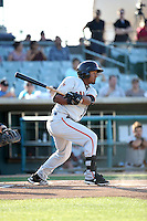 Rando Moreno (10) of the San Jose Giants bats against the Lancaster JetHawks at The Hanger on August 13, 2016 in Lancaster, California. Lancaster defeated San Jose, 16-2. (Larry Goren/Four Seam Images)