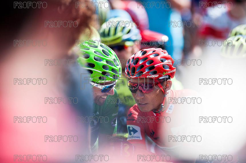 Castellon, SPAIN - SEPTEMBER 7: Nairo Quintana  and Alejandro Valverdeduring LA Vuelta 2016 on September 7, 2016 in Castellon, Spain