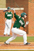 Derek Gallello (41) of the Charlotte 49ers follows through on his swing against the High Point Panthers at Willard Stadium on February 20, 2013 in High Point, North Carolina.  The 49ers defeated the Panthers 12-3.  (Brian Westerholt/Four Seam Images)