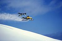 Snowmobile riding, Lost Lake, Chugach National Forest, Alaska.  MR/PR