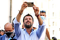 The Italian leader of the Lega party Matteo Salvini taking a picture with his smartphone during demonstration of labour consultants against the Government in Montecitorio Square. Rome (Italy), July 29th 2020<br /> Photo Samantha Zucchi Insidefoto