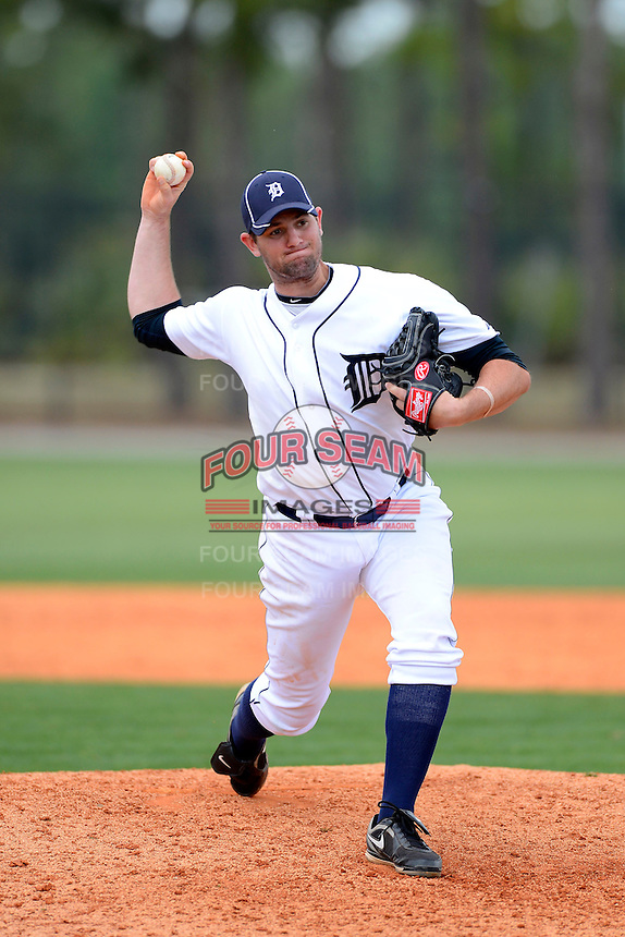 Detroit Tigers pitcher Daniel Bennett #52 during a minor league Spring Training game against the Washington Nationals at Tiger Town on March 22, 2013 in Lakeland, Florida.  (Mike Janes/Four Seam Images)