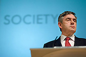 Chancellor of the Exchequor Gordon Brown MP at a Labour leadership hustings organised by the Fabian Society at the Institute of Education, London.