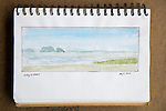 Skagit Bay, watercolor, Journal Art 2008,