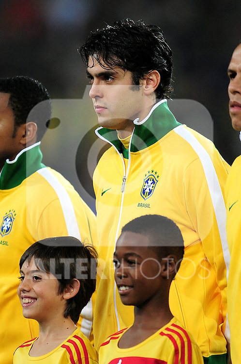 Kaka lines up before the 2010 FIFA World Cup South Africa Round of Sixteen match between Brazil and Chile at Ellis Park Stadium on June 28, 2010 in Johannesburg, South Africa.