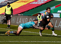 17th April 2021; Twickenham Stoop, London, England; English Premiership Rugby, Harlequins versus Worcester Warriors; Danny Care of Harlequins making a break around maul to pass Hougaard of Worcester warriors