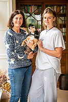 BNPS.co.uk (01202) 558833<br /> Pic MaxWillcock/BNPS<br /> <br /> PICTURED Reunited with Crumpet, Elektra, and her Mother, Sarah.<br /> <br /> A family left devastated when their puppy went missing are shocked to have been reunited with her - more than 11 years later.<br /> <br /> Sarah Covell and her two young daughters were heartbroken when their three-month-old Jack Russell called Crumpet went missing from their back garden in 2010.<br /> <br /> They spent weeks looking for her before giving up hope of ever seeing her again.<br /> <br /> But he family received a phone call out of the blue to say their microchipped dog had been found over 30 miles away.