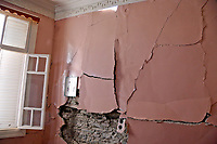 Pictured: A cracked wall in a property in Plomari, Lesbos, Greece. Monday 12 June 2017<br /> Re: A strong earthquake has rocked the Greek island of Lesbos, injuring 10 people and damaging dozens of homes at the Brit tourist hotspot.<br /> The magnitude 6.2 quake struck off the coast of western Turkey close to the islands of Samos and Lesbos, which are hugely popular with holidaymakers.