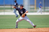 New York Yankees second baseman Nick Solak (29) throws to first base during a minor league Spring Training game against the Toronto Blue Jays on March 30, 2017 at the Englebert Complex in Dunedin, Florida.  (Mike Janes/Four Seam Images)