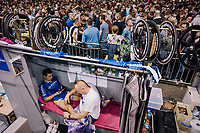 Kenny De Ketele (BEL/SportVlaanderen-Baloise) getting a massage in between races<br /> <br /> zesdaagse Gent 2019 - 2019 Ghent 6 (BEL)<br /> day 3<br /> <br /> ©kramon
