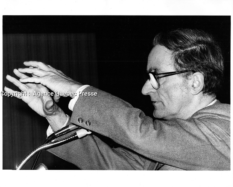 Claude RYAN au Conference Board du Canada, le 1er mars 1979<br /> <br /> PHOTO :  Agence Quebec Presse