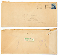 BNPS.co.uk (01202 558833)<br /> Pic: NateD.Sanders/BNPS<br /> <br /> Pictured: The envelope.<br /> <br /> A rare letter by the mother of Lee Harvey Oswald in which she insists her 'innocent' son was framed for the murder of JFK has come to light.<br /> <br /> Marguerite Oswald leapt to the defence of the 24-year-old in the letter that she wrote in 1966, three years after the assassination of the US president and the subsequent murder of her son.<br /> <br /> She rubbished the official report into the assassination that concluded that Oswald had acted alone, implying early on that it was a conspiracy involving others.