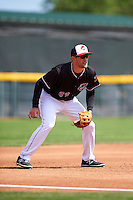 Erie Seawolves third baseman Wade Gaynor (37) during a game against the Richmond Flying Squirrels on May 20, 2015 at Jerry Uht Park in Erie, Pennsylvania.  Erie defeated Richmond 5-2.  (Mike Janes/Four Seam Images)