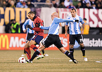 Jermaine Jones, Esteban Cambiasso. The USMNT tied Argentina, 1-1, at the New Meadowlands Stadium in East Rutherford, NJ.