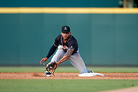Jupiter Hammerheads second baseman Justin Twine (1) waits for a throw during the second game of a doubleheader against the Bradenton Marauders on May 27, 2018 at LECOM Park in Bradenton, Florida.  Jupiter defeated Bradenton 4-1.  (Mike Janes/Four Seam Images)