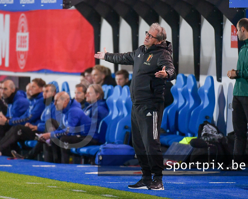 Head coach Jacky Mathijssen of Belgium pictured during a soccer game between the national teams Under21 Youth teams of Belgium and Denmark on the fourth matday in group I for the qualification for the Under 21 EURO 2023 , on tuesday 12 th of october 2021  in Leuven , Belgium . PHOTO SPORTPIX | STIJN AUDOOREN