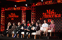 """PASADENA, CA - JANUARY 9: (L-R Front Row) Executive Producers Coco Francini, Stacey Sher, Executive Producer/cast member Cate Blanchett, Creator/Executive Producer/Writer Dahvi Waller, Executive Producers/Directors Anna Boden and Ryan Fleck, (L-R Back Row) cast members John Slattery, Uzo Aduba, Margo Martindale, Tracey Ullman, Sarah Paulson, and Elizabeth Banks attend the panel for """"Mrs. America"""" during the FX Networks presentation at the 2020 TCA Winter Press Tour at the Langham Huntington on January 9, 2020 in Pasadena, California. (Photo by Frank Micelotta/FX Networks/PictureGroup)"""