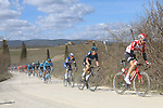 The peloton including Tim Wellens (BEL) Lotto-Soudal and Geraint Thomas (WAL) Team Sky on sector 2 Bagnaia during Strade Bianche 2019 running 184km from Siena to Siena, held over the white gravel roads of Tuscany, Italy. 9th March 2019.<br /> Picture: Seamus Yore   Cyclefile<br /> <br /> <br /> All photos usage must carry mandatory copyright credit (© Cyclefile   Seamus Yore)