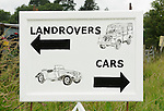 Signpost for the Dunsfold Collection carpark. Dunsfold Collection of Land Rovers Open Day 2011, Dunsfold, Surrey, UK. --- No releases available, but releases may not be necessary for certain uses. Automotive trademarks are the property of the trademark holder, authorization may be needed for some uses.