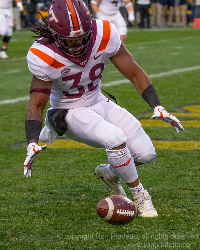 Virginia Tech linebacker Rico Kearney recovers in the end zone a fumble by Pitt quarterback Kenny Pickett. The Pitt Panthers defeated the Virginia Tech Hokies 52-22 on November 10, 2018 at Heinz Field in Pittsburgh, Pennsylvania.