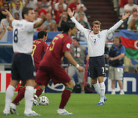 David Beckham pleads for a handball in the box to be called.  Portugal defeated England on penalty kicks after playing to a 0-0 tie in regulation in their FIFA World Cup quarterfinal match at FIFA World Cup Stadium in Gelsenkirchen, Germany, July 1, 2006.