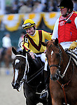 16 May 09: Rachel Alexandra and jockey Calvin Borel after winning the Preakness Stakes at Pimlico Race Course in Baltimore, Maryland on Preakness Day.