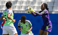 GRENOBLE, FRANCE - JUNE 12: Chiamaka Nnadozie #16 of the Nigerian National Team collects a pass during a game between Korea Republic and Nigeria at Stade des Alpes on June 12, 2019 in Grenoble, France.
