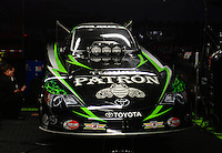 Nov. 7, 2012; Pomona, CA, USA: View of the car of NHRA funny car driver Alexis DeJoria in the pits prior to qualifying for the Auto Club Finals at at Auto Club Raceway at Pomona. Mandatory Credit: Mark J. Rebilas-