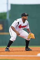 Nashville Sounds third baseman Jason Rogers (47) on defense against the Oklahoma City RedHawks at Greer Stadium on July 25, 2014 in Nashville, Tennessee.  The Sounds defeated the RedHawks 2-0.  (Brian Westerholt/Four Seam Images)
