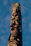 Totem Pole, Vancouver Island, Canada, A Totem pole stands at Friendly Cove, Yuquot village, Moachaht band, Nootka Sound, Vancouver Island, British Columbia, Canada, North America,.