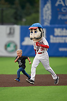 Auburn Doubledays mascot Abner with a young fan during a base race promotion during a NY-Penn League game against the Connecticut Tigers on July 12, 2019 at Falcon Park in Auburn, New York.  Auburn defeated Connecticut 7-5.  (Mike Janes/Four Seam Images)