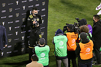 COLUMBUS, OH - DECEMBER 12: Lucas Zelarayan #10 of the Columbus Crew poses with the MLS Cup MVP Trophy after a game between Seattle Sounders FC and Columbus Crew at MAPFRE Stadium on December 12, 2020 in Columbus, Ohio.