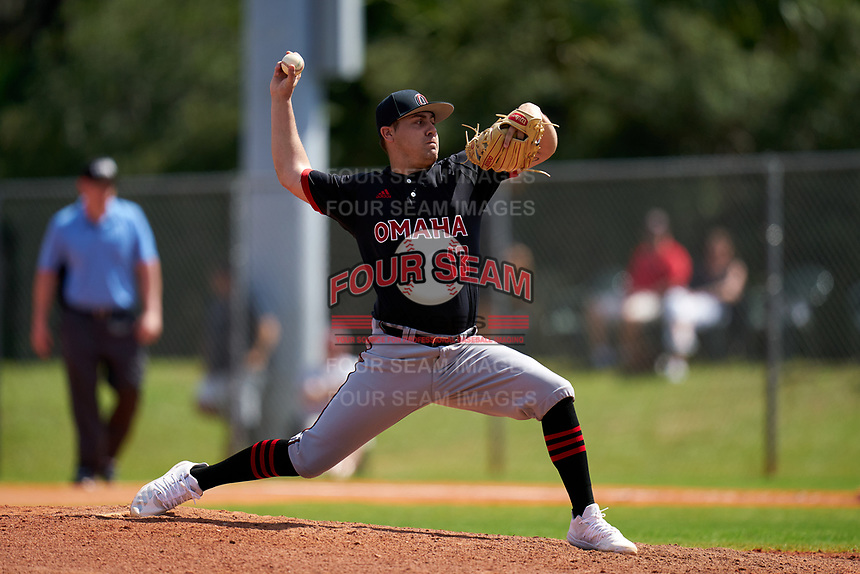 Omaha Mavericks pitcher Jake Pennington (13) during a game against the Dartmouth Big Green on February 23, 2020 at North Charlotte Regional Park in Port Charlotte, Florida.  Dartmouth defeated Omaha 8-1.  (Mike Janes/Four Seam Images)