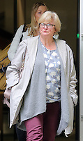 Pictured: Jean Hargreaves leaves Merthyr Tydfil Crown Court after the sentencing. Friday 16 September 2016<br /> Re: Rogue traders Matthew Hargreaves and John Barry Hargreaves have been jailed for 18 months and Jean Hargreaves has been given  suspended sentence by Merthyr Tydfil Crown Court for selling a teeth whitening product with harmful levels of hydrogen peroxide, 110 times the legal limit, after a three year nationwide investigation by Powys County Council's Trading Standards Service culminated in guilty pleas being entered by three Manchester based rogue traders. <br /> Charges relating to Fraud and Consumer Protection offences were pursued relating to the sale of unsafe teeth whitening products across the UK.