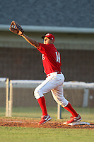 Batavia Muckdogs first baseman Victor Sanchez (14) during a game vs. the Auburn Doubledays at Dwyer Stadium in Batavia, New York July 2, 2010.   Batavia defeated Auburn 6-3.  Photo By Mike Janes/Four Seam Images