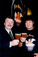 Montreal,July 1996 File Photo with new caption<br /> <br /> <br />  - Andr» Dion, president and CEO of Unibroue, seen here on the right,  in a July 1996 File photo taken with singer and business partner Robert Charlebois (right).<br />  today announced that all beers produced at his Chambly brewery have again been<br /> certified free of genetically modified organisms.<br />     After the Canadian Food Inspection Agency (CFIA) rescinded its<br /> certification of Unibroue products when the brewery mentioned this fact in its<br /> advertising, Unibroue decided to submit its entire product line to an<br /> internationally recognized laboratory that would confirm whether or not its<br /> beers were free of GMOs.<br /> <br /> (Photo : (c) 1996 Pierre Roussel<br /> NOTE : Scan  , saved as Adobe RG 1998